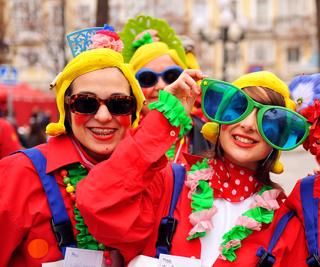 Carnival disguises on the street, Cadiz, Andalusia, Spain