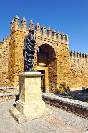 seneca: Almodovar gate in the wall fortress, tribute to Seneca, roman philosopher and writer, Cordoba, Spain
