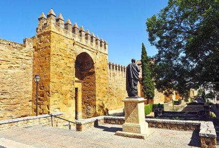 seneca: Tribute to Seneca, Roman philosopher and writer, Almodovar gate in the rampart, Cordoba, Spain
