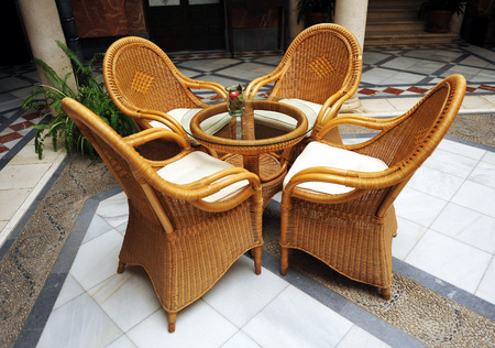 lordly: Wicker chairs and table, Palace of the Marquis de la Gomera, Osuna, Seville, Spain
