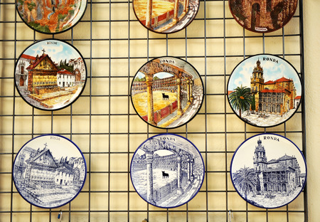 gash: Ceramic dishes with views of Ronda, Malaga province, Andalusia, Spain