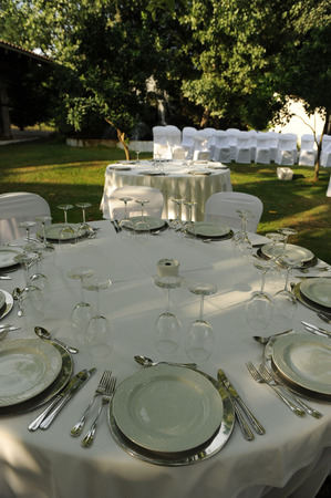 semibreve: Tables ready for a wedding banquet Stock Photo