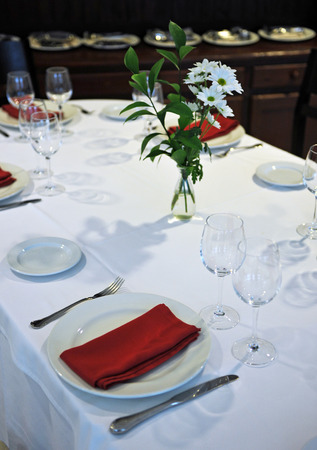 semibreve: Table set for a banquet in restaurant Stock Photo