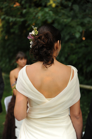 The bride in the wedding ceremony photo