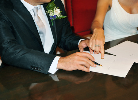 Wedding, Bridal signing contract Stock Photo