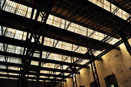 nave: Large industrial warehouse, steel structure, Former Royal Ordnance Factory of Seville, Andalusia, Spain