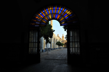 industrialist: Former Royal Ordnance Factory of Seville, entrance door, Andalusia, Spain