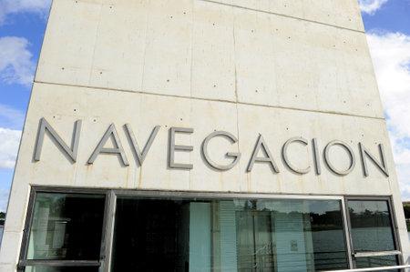 xx century: Navigation Pavilion,  Cartuja island, Guadalquivir river, Seville, Spain Editorial