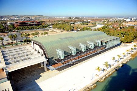 xx century: Navigation Pavilion,  Cartuja island, aerial view, Seville, Spain