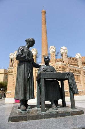 tribute: Tribute to women who manufactured cigarettes, Former tobacco factory, Cadiz, Spain Editorial