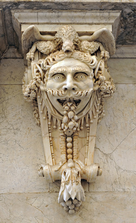 corbel: Large figurehead, architectural fantasy, Chamber of commerce, Cadiz, Andalusia, Spain