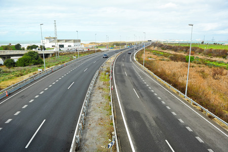 cadiz: Highway San Fernando Cadiz, Andalusia, Spain, Southern Europe Stock Photo
