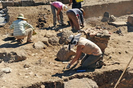 考古学の発掘調査は、ローマの Sisapo 市、ラ Bienvenida、シウダーレアル、スペイン 写真素材
