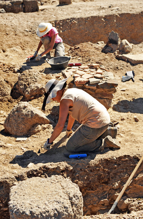 archaeologists: Archeological excavations in Roman Sisapo City, La Bienvenida, Ciudad Real, Spain