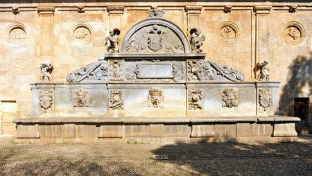 carlos: Fountain of Carlos V Alhambra palace in Granada, Andalusia, Spain