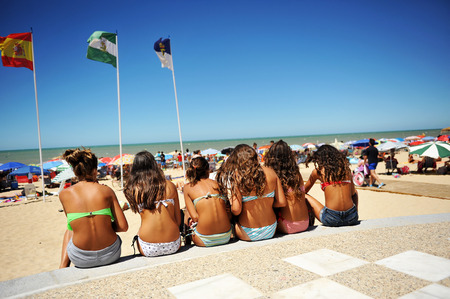 colleen: Group of girls on the beach, summer vacation, Chipiona, Costa de la luz, Cadiz province, Spain