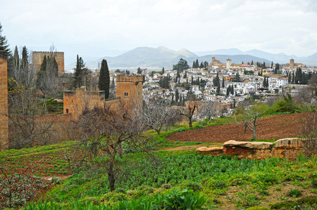 urbanism: Neighborhood Albayzn and Alhambra Palace seen from the viewpoint of the Generalife, Granada, Andalucia, Spain Editorial