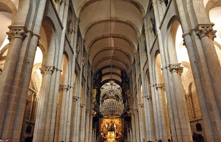 Inside the cathedral of Santiago de Compostela, Spain