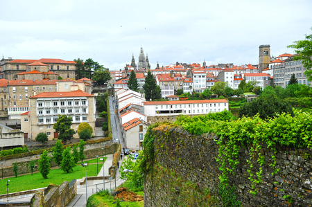 compostela: Skyline of Santiago de Compostela, Spain Stock Photo