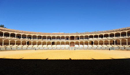 bullring: Panoramic view, Bullring in Ronda, Malaga Province, Spain Stock Photo