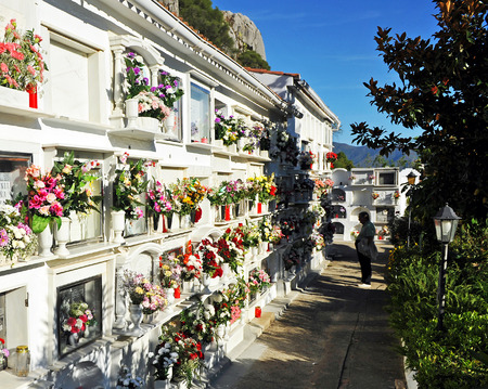 urbanism: Cemetery, celebrating the Day of All Saints, Gaucin, Andalusia, Spain Stock Photo