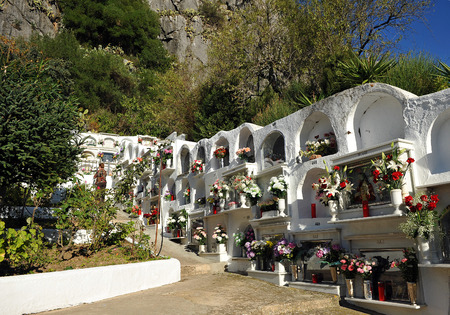 urbanism: Cemetery of Gaucin, celebrating the Day of All Saints, Andalusia, Spain