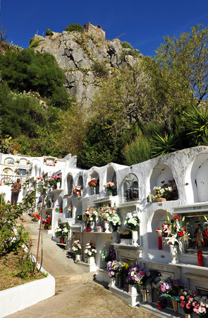 camposanto: Cemetery and the Castle of Gaucin, Malaga province, Andalusia, Spain