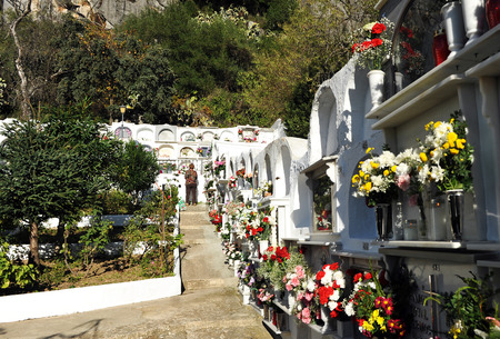 camposanto: Cemetery of Gaucin, celebrating the Day of All Saints, Andalusia, Spain