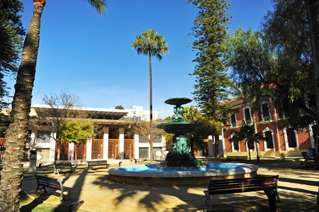 casa colon: Gardens and fountain, Congress and Exhibition Palace of Huelva, Casa Colon, Andalusia, Spain