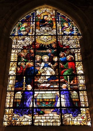 pentecost: Pentecost, Stained glass in the Cathedral of Seville, Spain Editorial