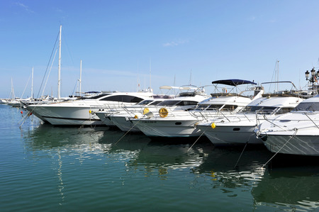 cuccette: Pleasure boats in the marina, Marbella, Costa del Sol, Malaga, Spain