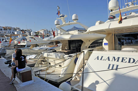 literas: Luxury yachts in Marbella, Puerto Banus Marina, Costa del Sol, Malaga, Spain Editorial