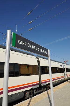 carrion: Carrion de los Cespedes  train station, province of Seville, Andalusia, Spain