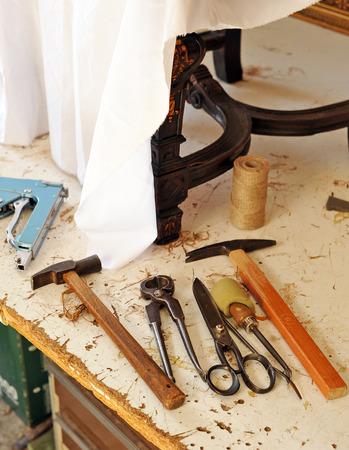 upholsterer: Workshop of the upholsterer, working tools