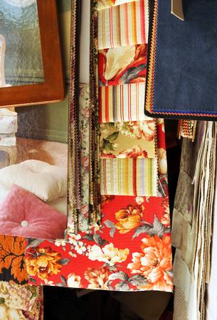 upholsterer: Sample of fabrics in a craft workshop of the upholsterer