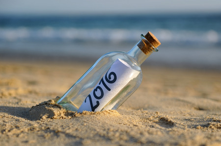 2016, a bottle with a message of new year