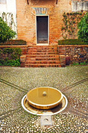 marble palace: Marble fountain, Palace of Generalife, Alhambra in Granada, Andalusia, Spain Editorial