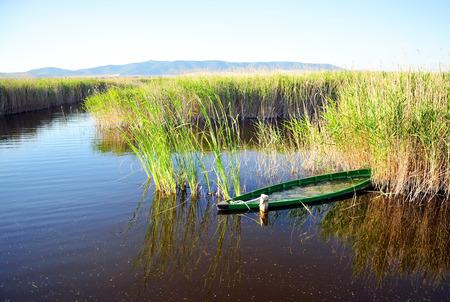 sunk: Fishing boat in the Tablas de Daimiel National Park, Ciudad Real, Castilla la Mancha, Spain Stock Photo