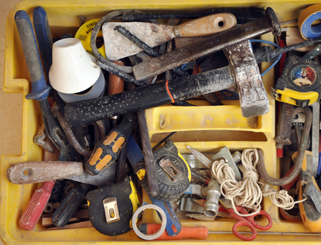 bricklayer: Toolbox disorderly of a bricklayer