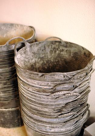 debris: Rubber baskets to collect construction debris