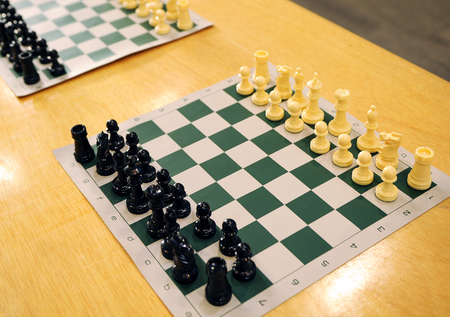 simultaneous: Simultaneous matches, chessboards Stock Photo