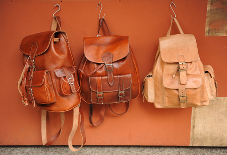 group objects: Leather backpacks handmade, leather goods Stock Photo