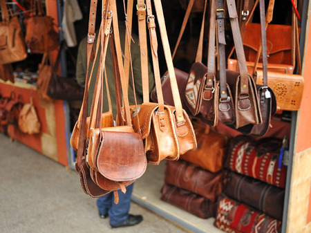 Sales stall, bags, leather goods Stock Photo