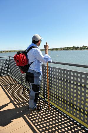 steelyard: Hiker in the roman reservoir of Proserpina, Merida, province of Badajoz, Spain