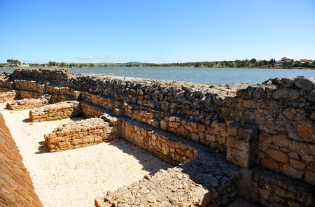 steelyard: Roman wall of Proserpina Dam, Merida, Badajoz province, Spain