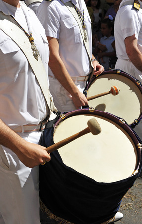holy week in seville: Drums, brass band, Holy Week in Seville, Spain Stock Photo