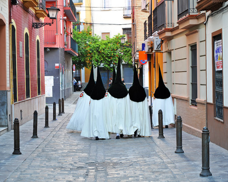 holy week in seville: Holy Week in the streets of Seville, Religious procession, Andalusia, Spain Stock Photo