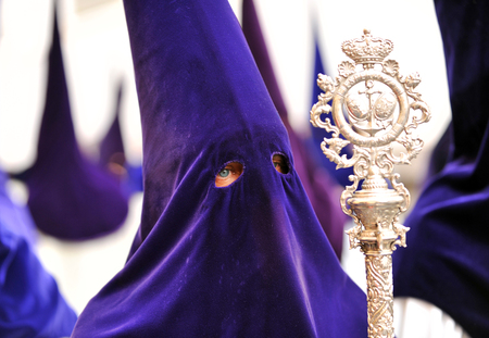 holy week in seville: Nazarene, Holy Week in Seville, brotherhood of hope, Andalusia, Spain