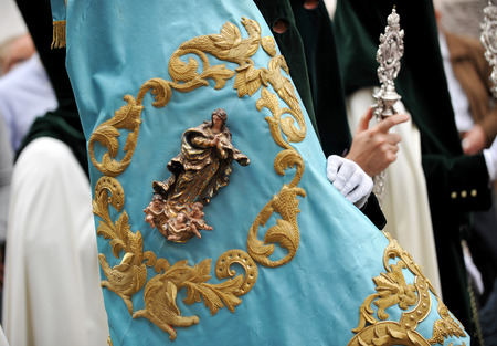 holy week in seville: Pennon the Virgin, religious procession of Holy Week in Seville, Andalusia, Spain