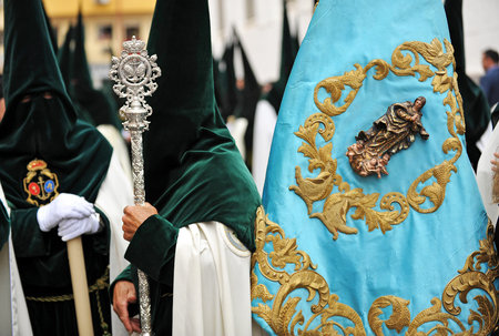 holy week in seville: Religious procession of Holy Week in Seville, Andalusia, Spain